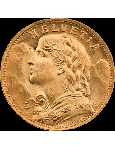 Pièce de 20 Francs Suisse - face